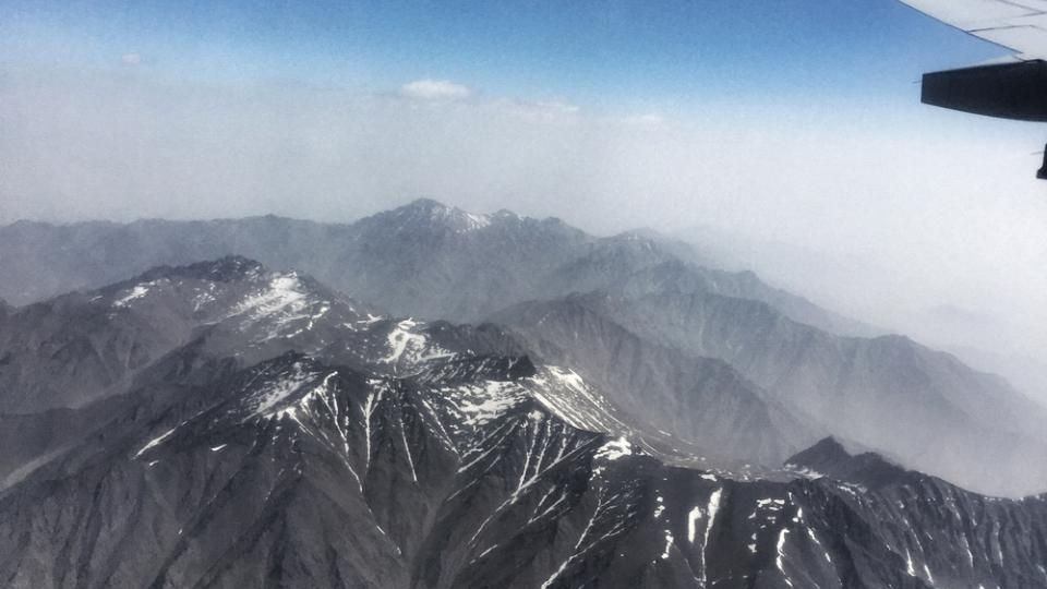 The mountains surrounding Kabul, from the air