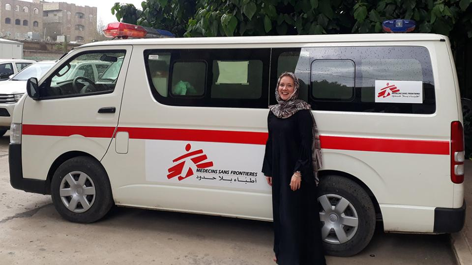 Marissa with an MSF ambulance in Yemen
