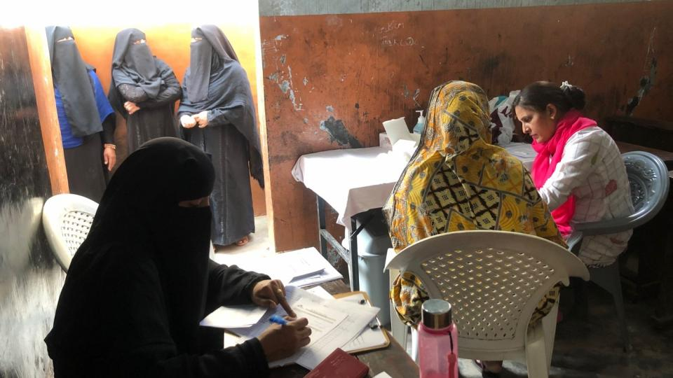 Women at the hepatatis screening camp