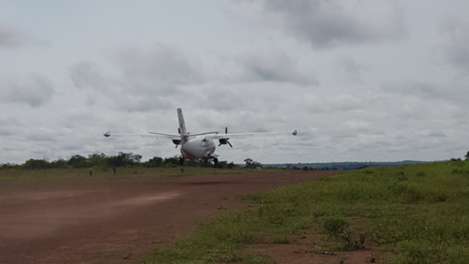 The plane taking off from Bossangoa