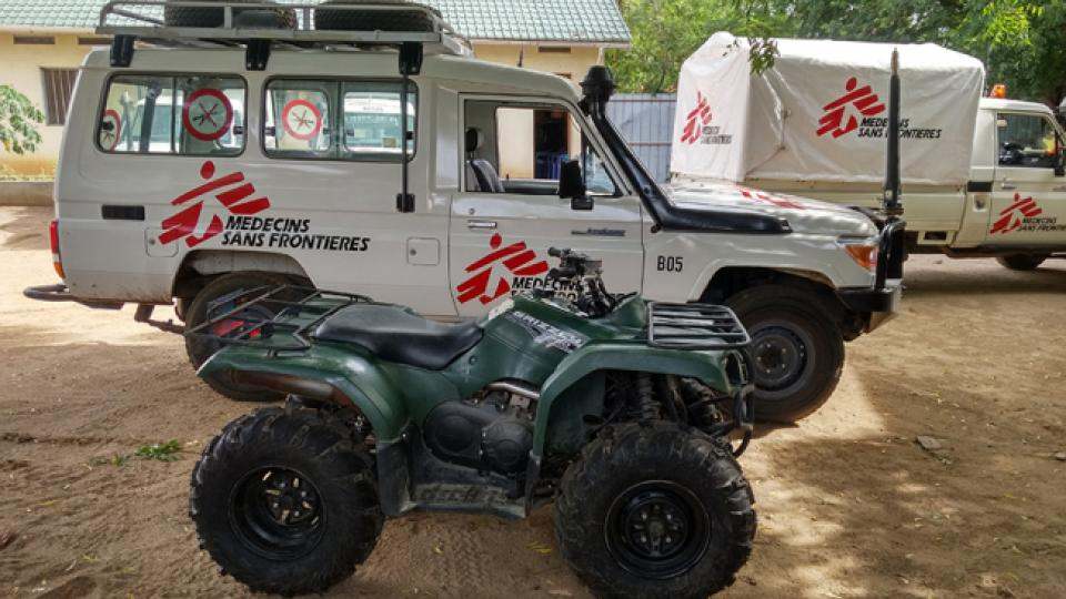 An MSF land cruiser and quad bike in South Sudan