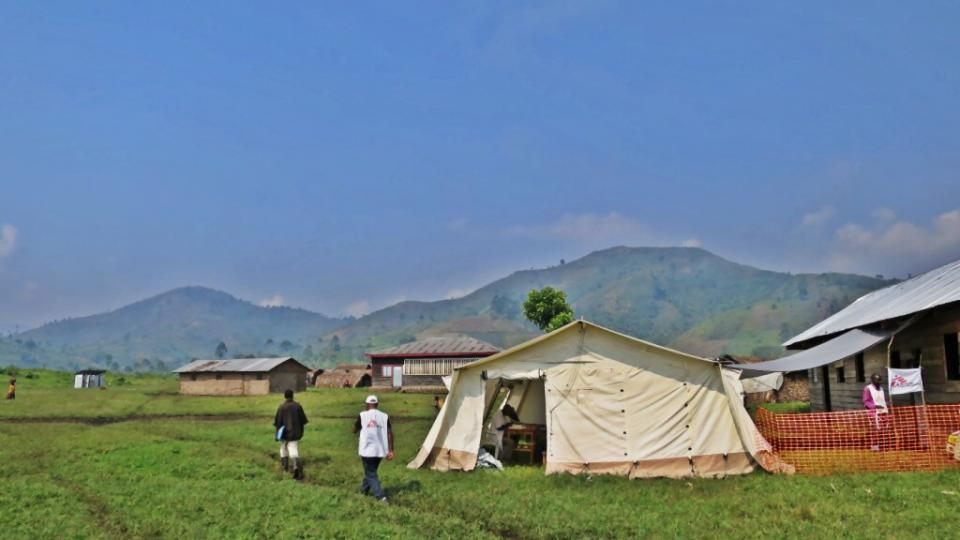 An MSF tent surrounded by the lush landscape of North Kivu.