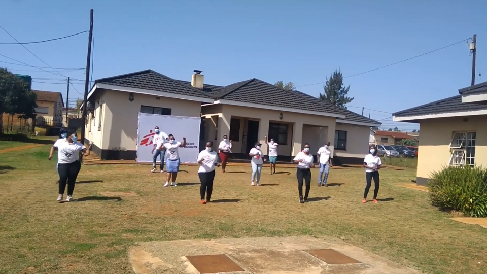 MSF HIV team members in Eswatini doing the Jerusalema Dance to raise awareness of PrEP
