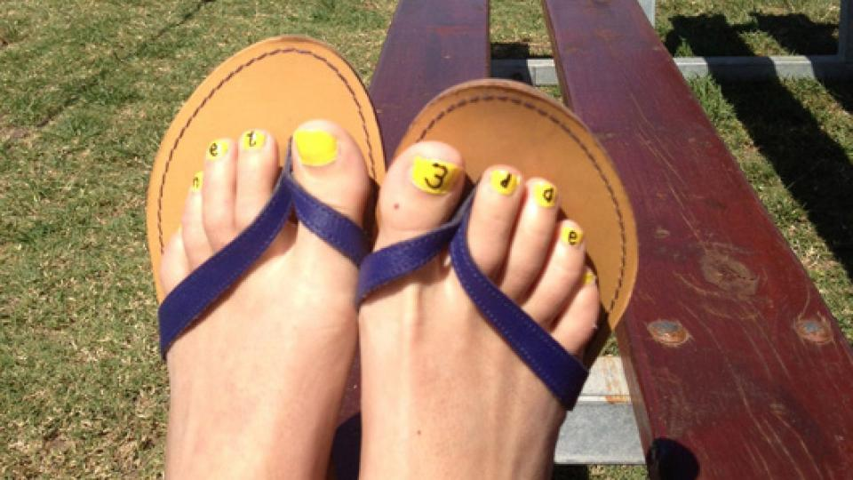 Ingrid Schoeman's toenails, painted to celebrate three days left of her treatment