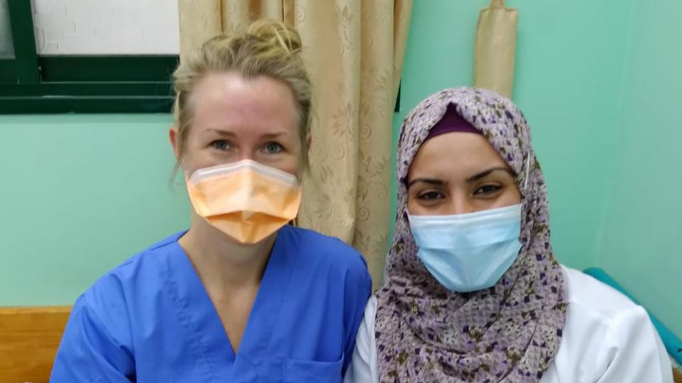 Eva Heikki and an MSF colleague in Gaza, Palestine