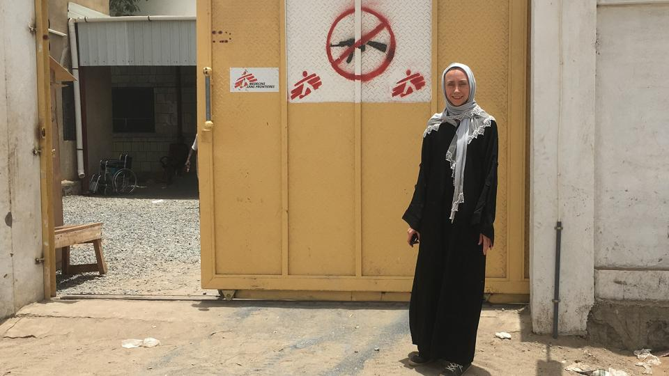 Heidi outside the MSF health centre in Yemen