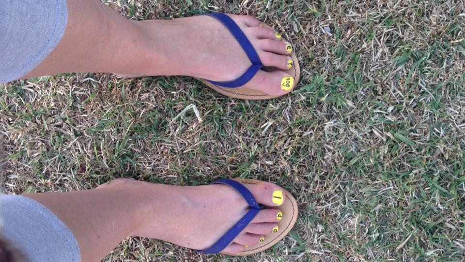 Ingrid Schoeman's toenails, painted to celebrate one day left of her treatment