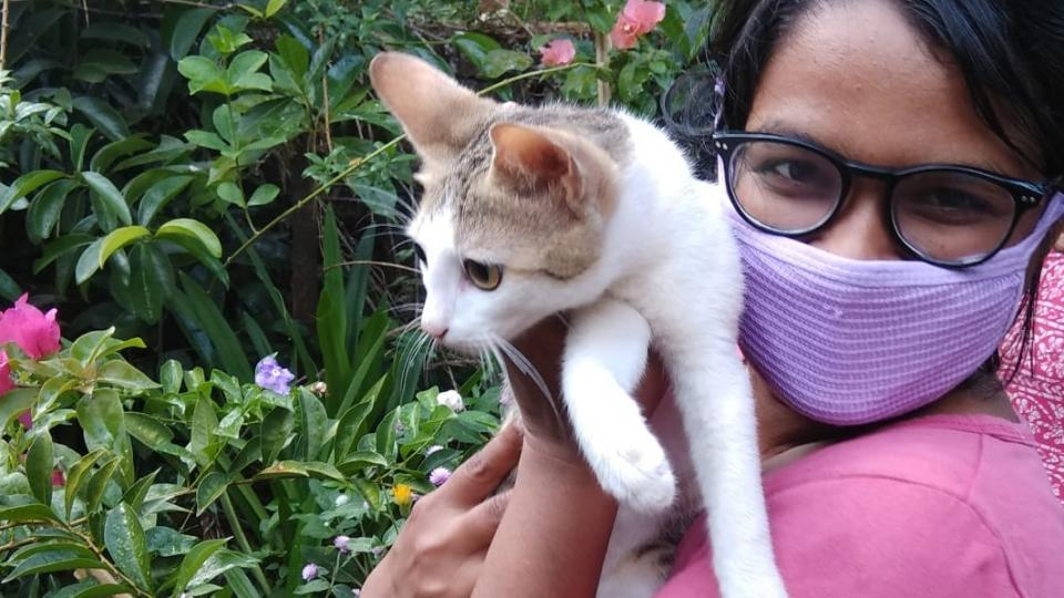 Athira and her cat