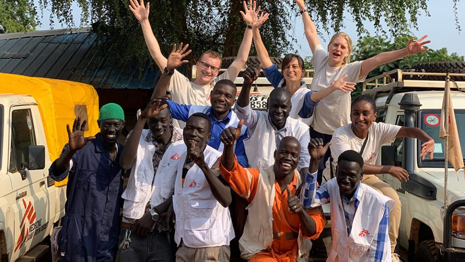 Karla Claus (top right) with the Maban logistics team in South Sudan