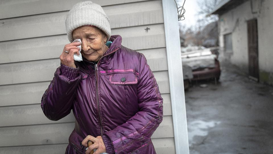 Maria, a resident of Optyne village in eastern Ukraine