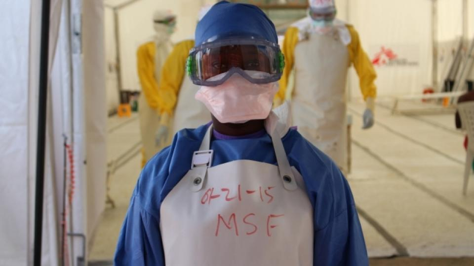 Sianne Beyan wearing Ebola personal protection equipment