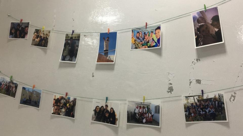 Photos of the MSF team on the wall in Lashkar Gah