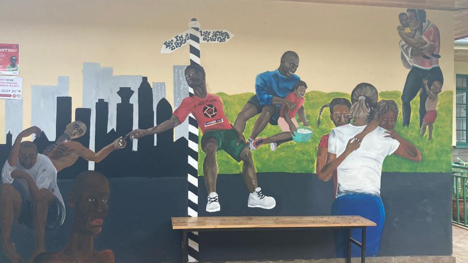 The mural at the clinic for people who use heroin in Kiambu
