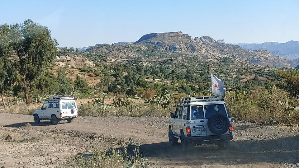 MSF cars drive through Tigray, Ethiopia