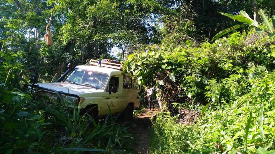 An MSF Land Cruiser struggles through the thick vegetation of the Central African Republic