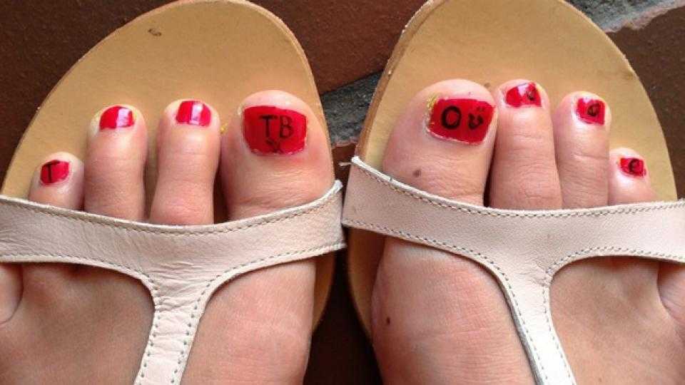 Ingrid Schoeman's toenails, painted to celebrate her final day of treatment for Tuberculosis