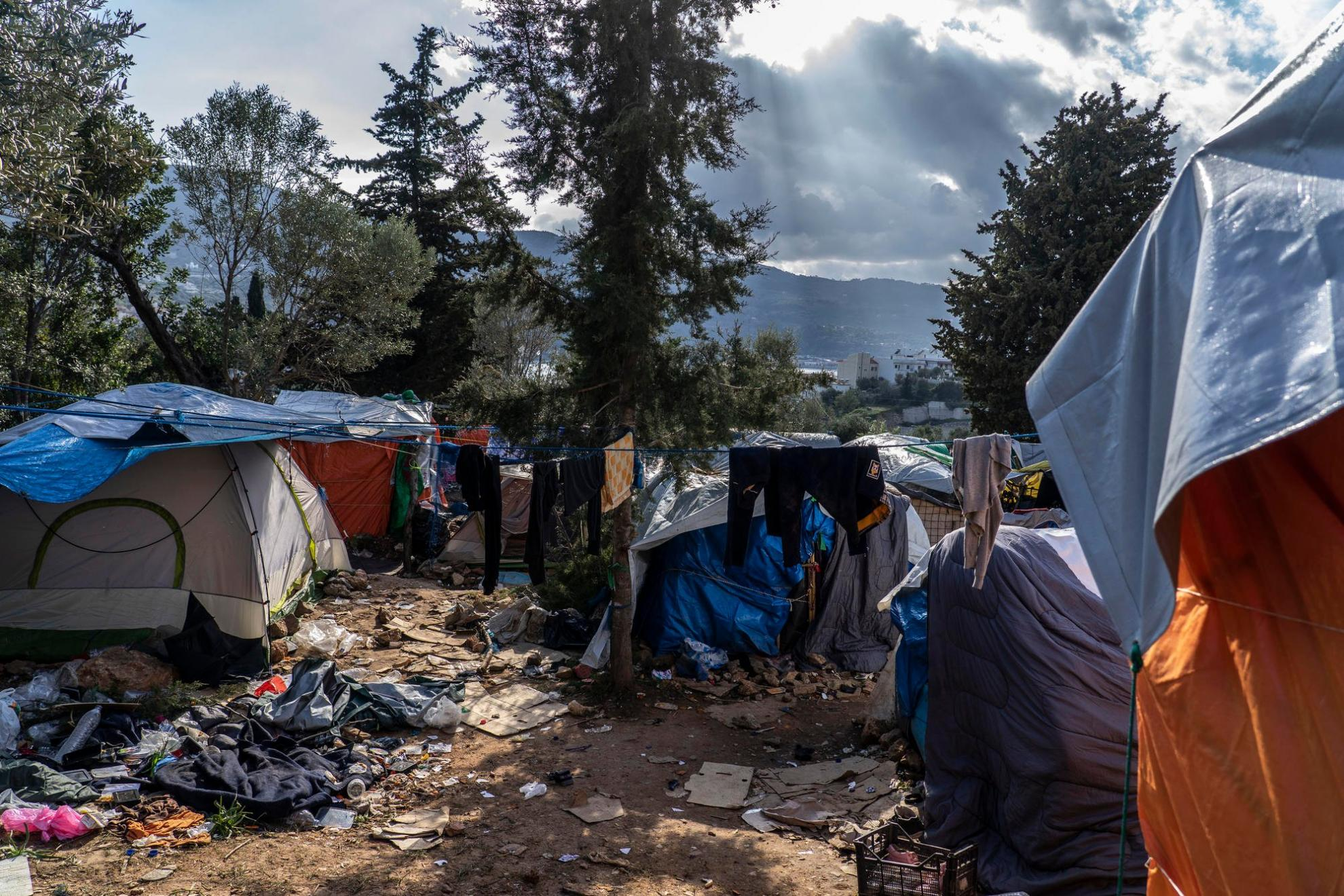 Conditions inside a refugee camp on the Greek island of Samos