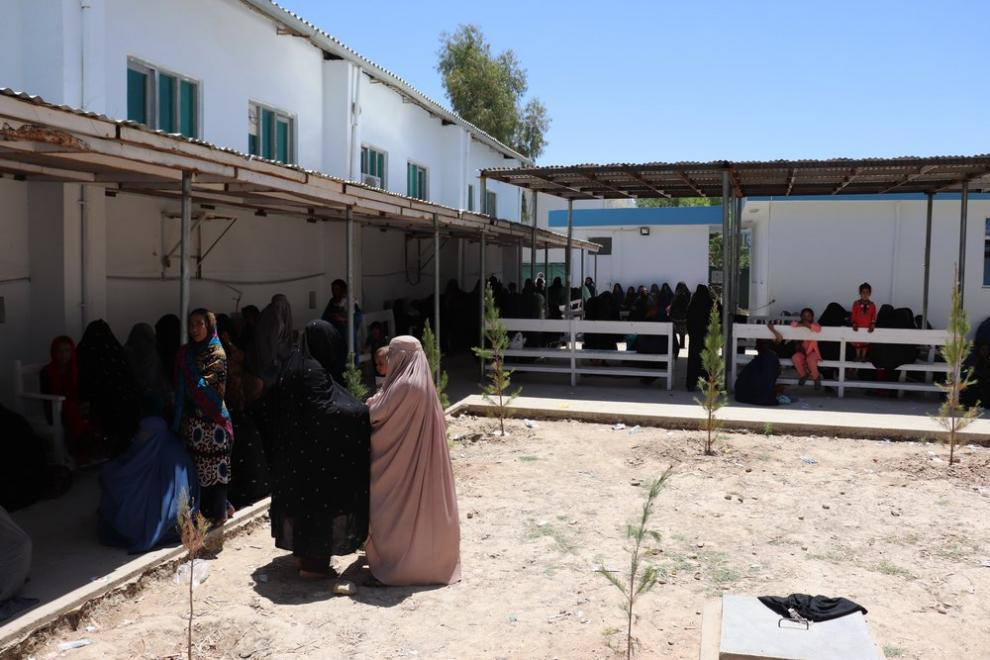 Women in the female caretaker area of the outpatient department at Boost Hospital
