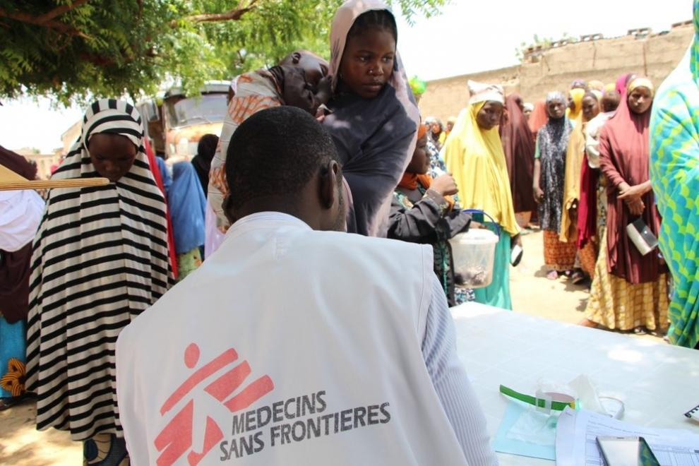 An MSF mobile clinic at a displaced people's camp in Maiduguri