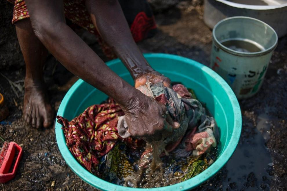 Clothes being washed by hand in the Democratic Republic of Congo
