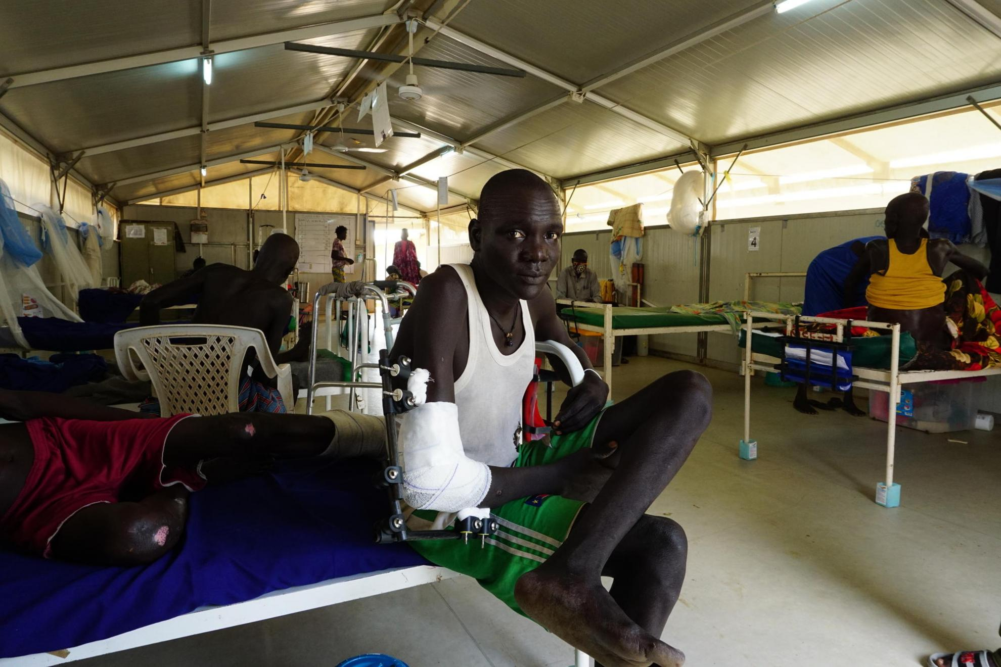 29-year-old Bol from Paniang, Jonglei State is treated in the surgical ward in Bentiu Hospital in the Protection of Civilians site (PoC)