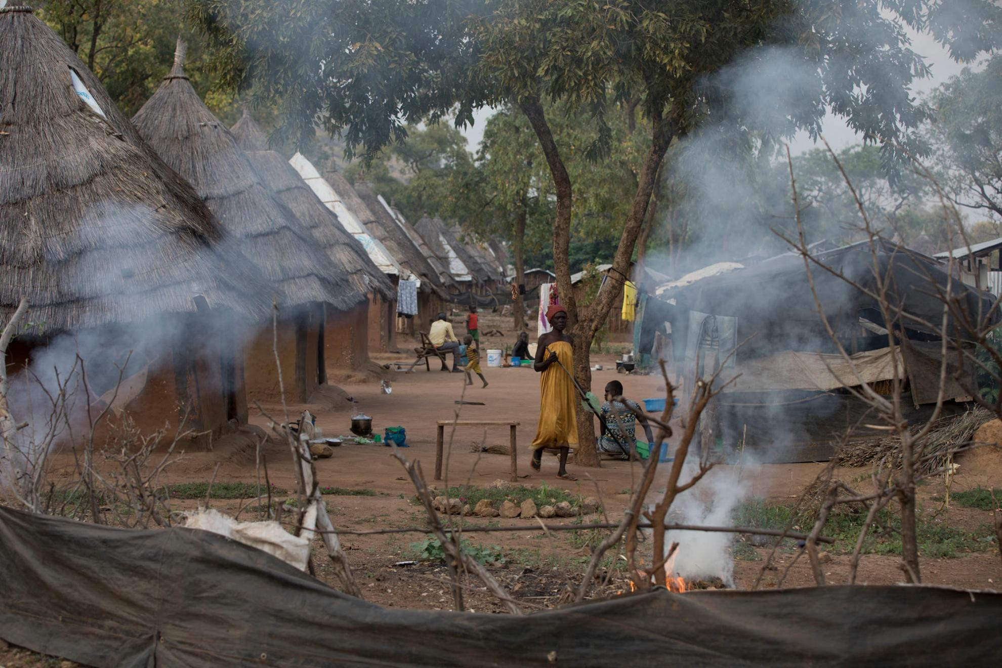 A row of shelters inside Kule refugee camp in Ethiopia