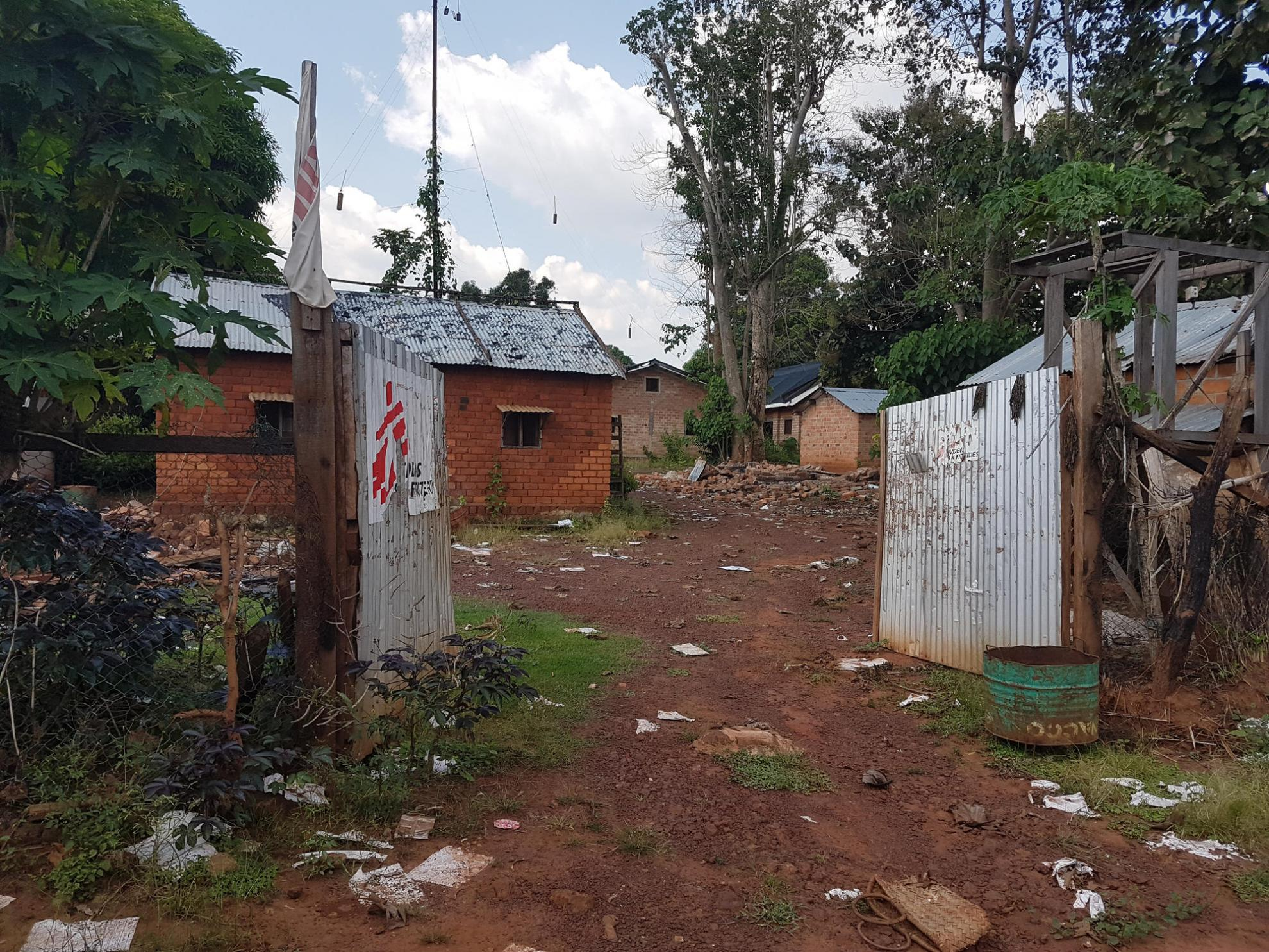 The main entrance to MSF's base in Zemio after it was destroyed in summer 2017
