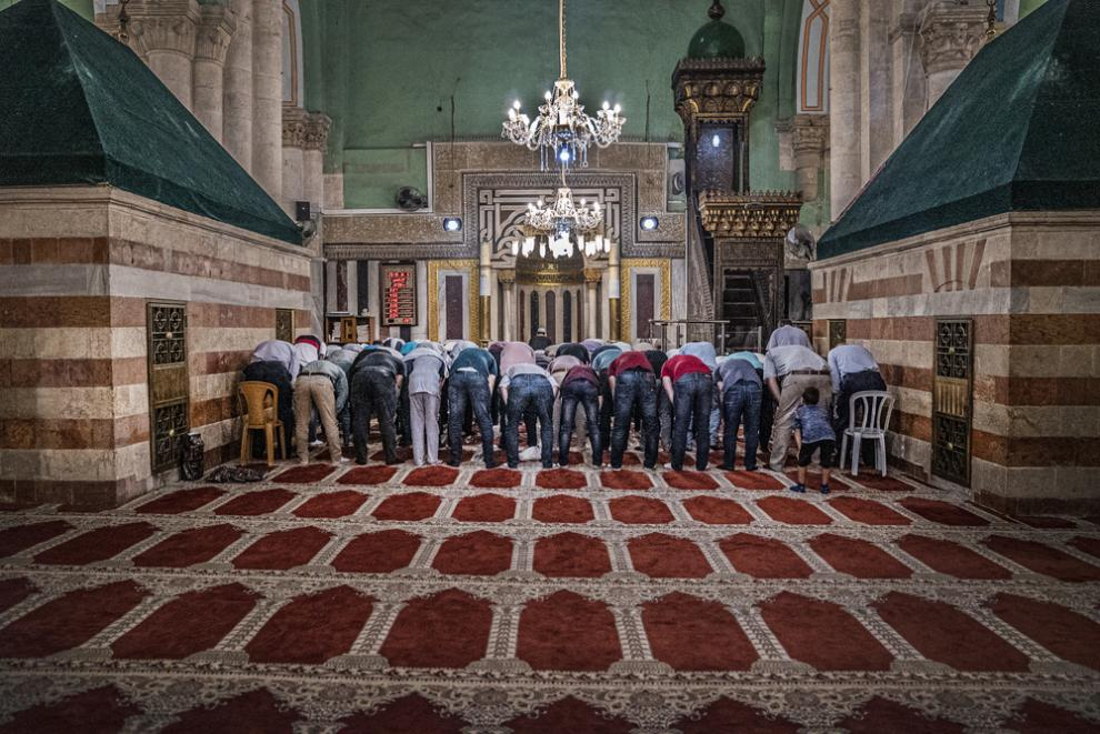 Inside a mosque in the West Bank