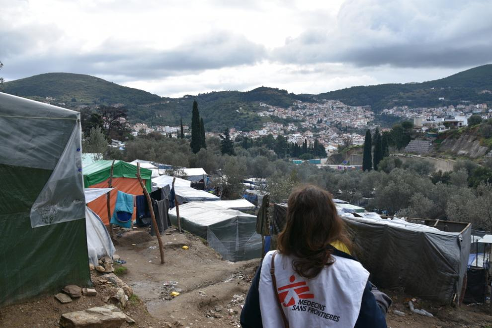 In Vathy camp, MSF provides water and toilets, and runs a healthcare clinic
