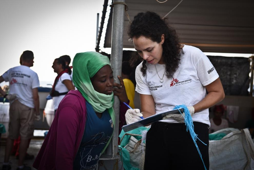 Courtney Bercan on board the MSF boat Dignity 1