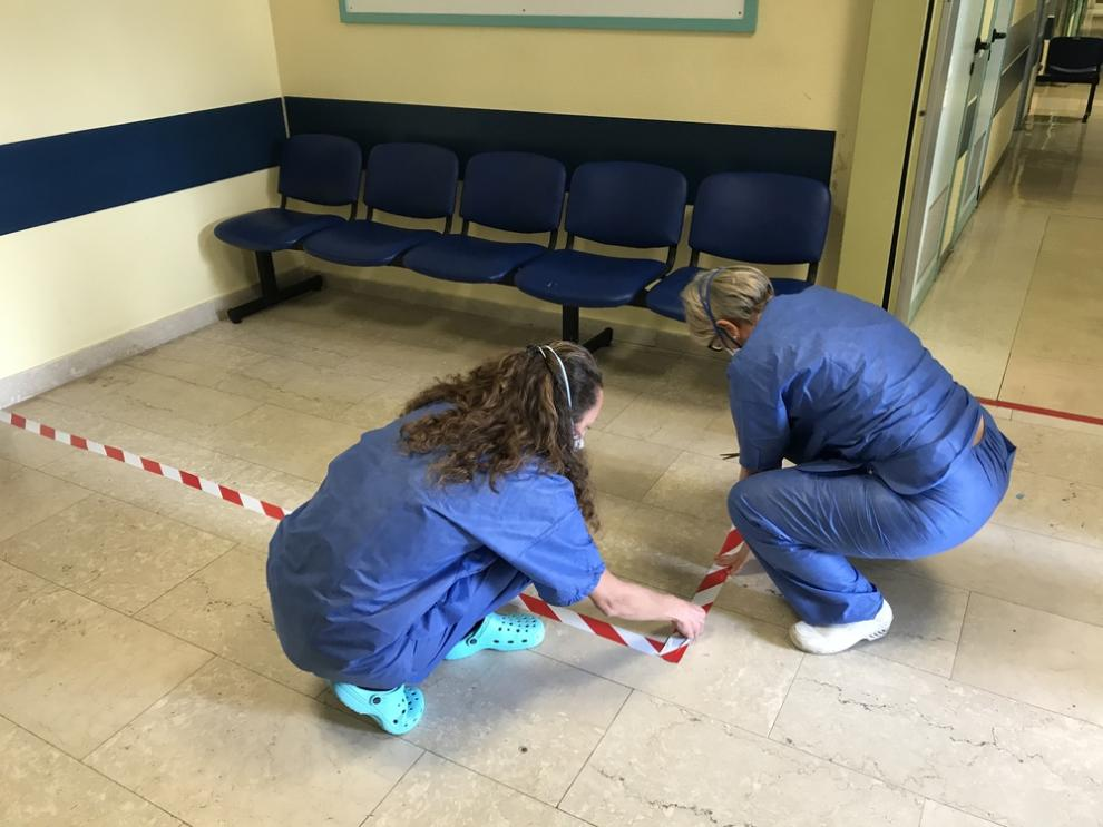 A safety zone is established in the waiting room of the radiology service at Codogno Hospital, where Italy's first COVID-19 case was recorded.