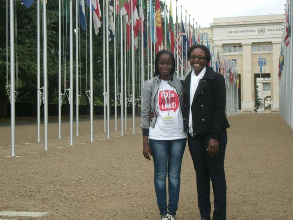 Phumeza Tisile and MSF colleague Patricia Mazuru in front of the UN