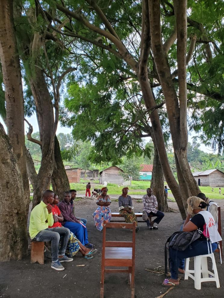 MSF staff hold a COVID-19 health promotion training and information session with volunteer community healthcare workers in the village of Nzule, just outside Goma in North Kivu province, DRC.