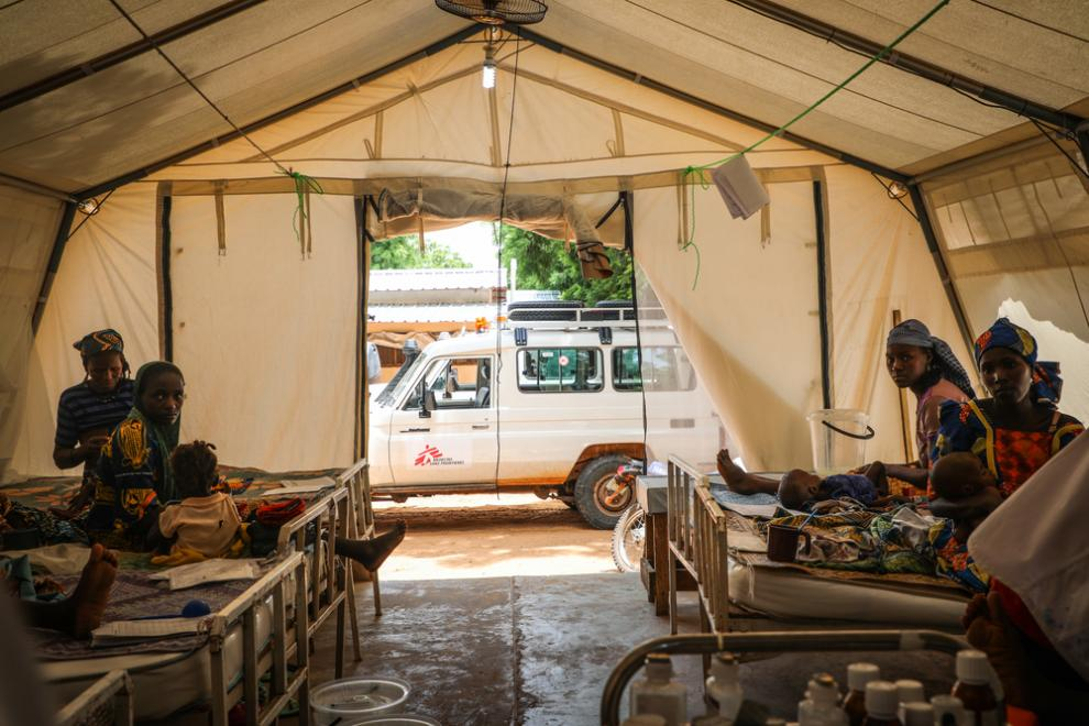 Inside the Phase 1 tent at Magaria District Hospital in Niger.