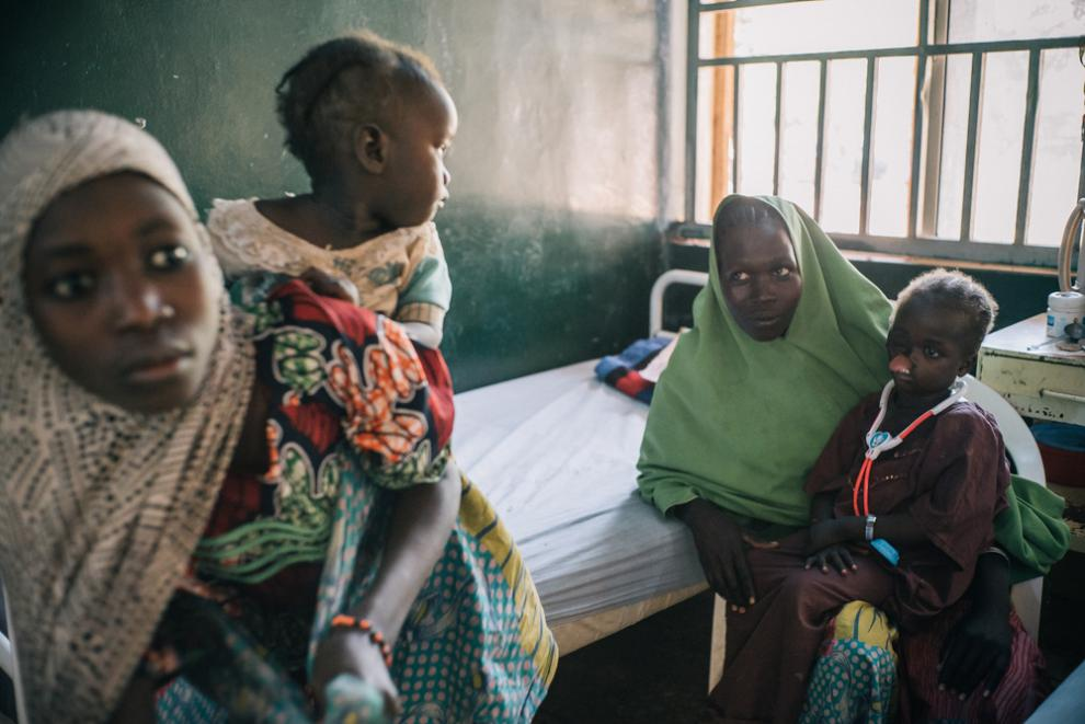 Young patients with their parents at MSF's noma hospital in Sokoto