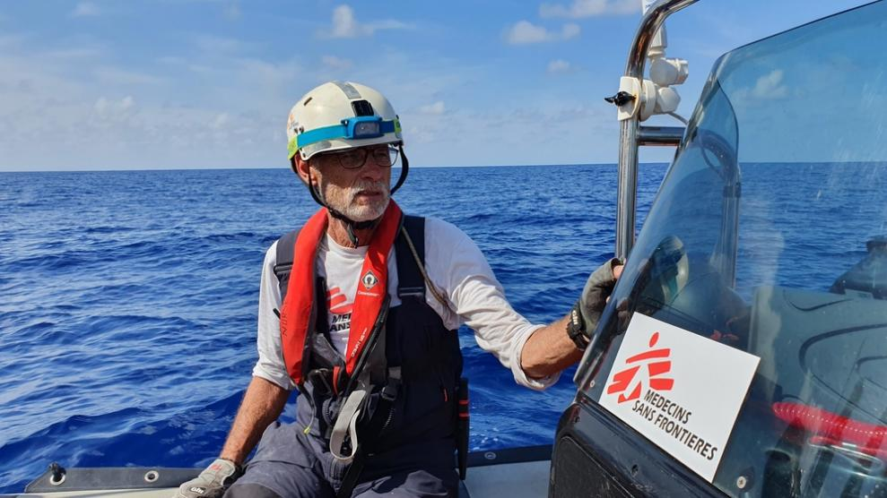 MSF nurse Tim Harrison responds to an inflatable boat in distress with 102 people on board.