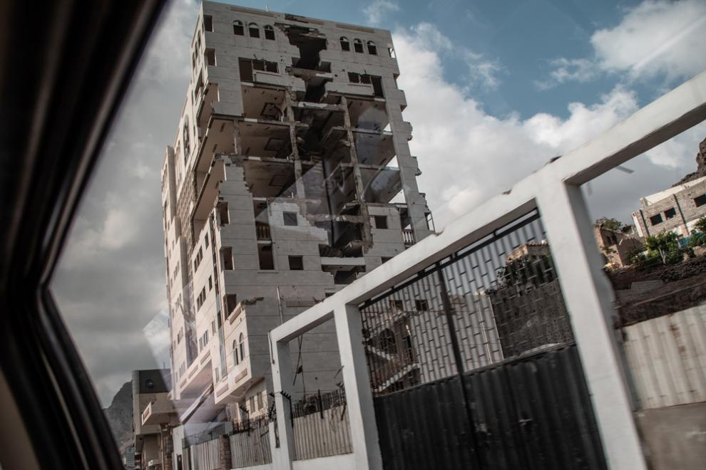 A large building in the city of Aden, destroyed by fighting in 2015
