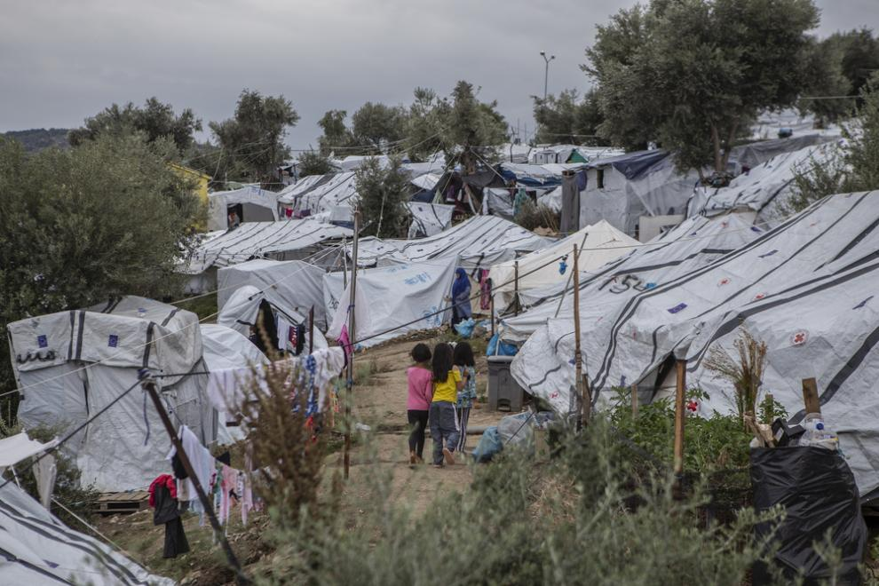tents in Moria camp, Lesbos, Greece