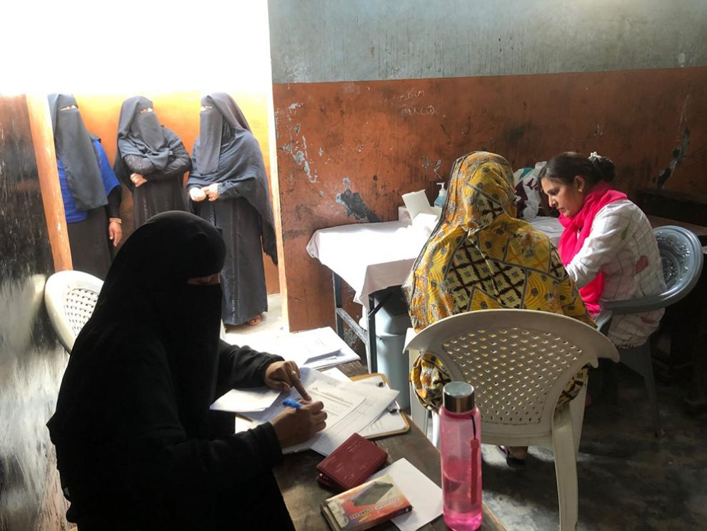 Women's side of the MSF Hepatitis C screening camp in Machar Colony, Pakistan