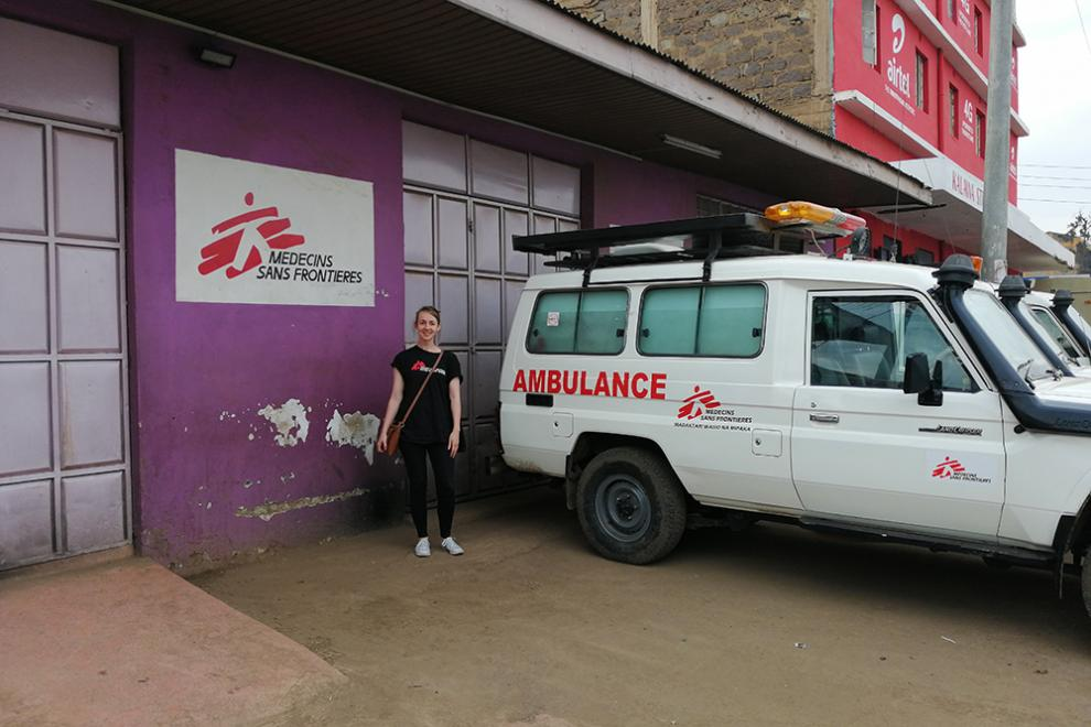 MSF major gifts manager Abi Betts outside the Lavender House in Mathare