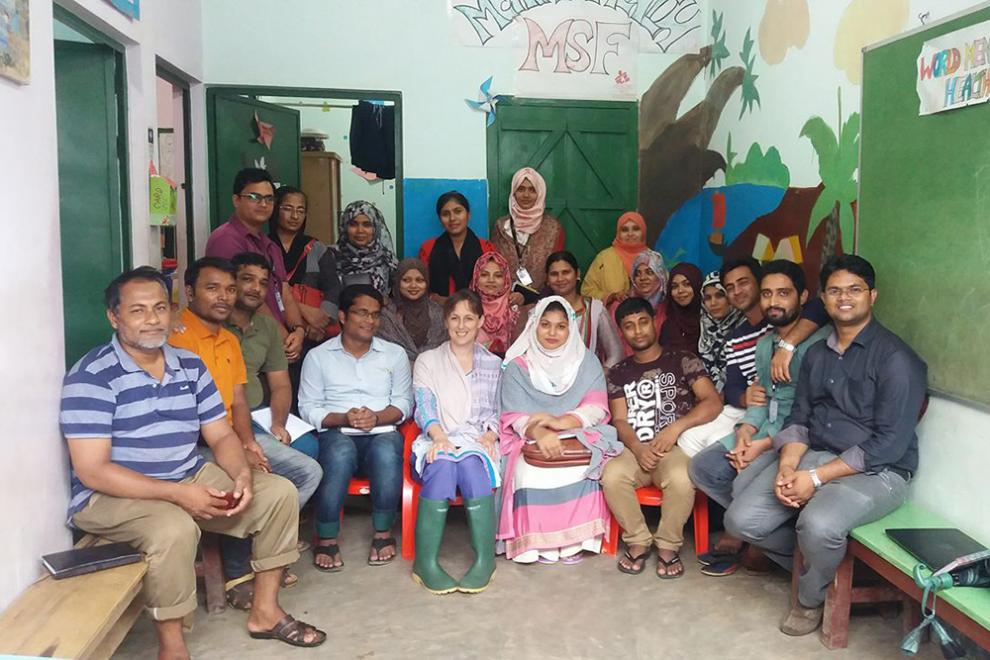 UK mental health specialist Alison Fogg with the team in Bangladesh