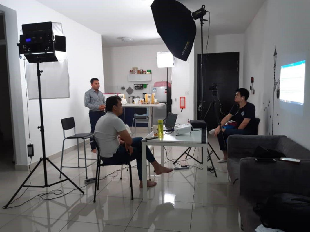 An episode on COVID-19 awareness being filmed for R-vision