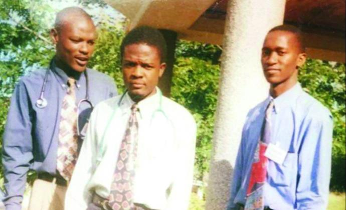 Bern (far right) with fellow students at the University of Malawi's College of Medicine