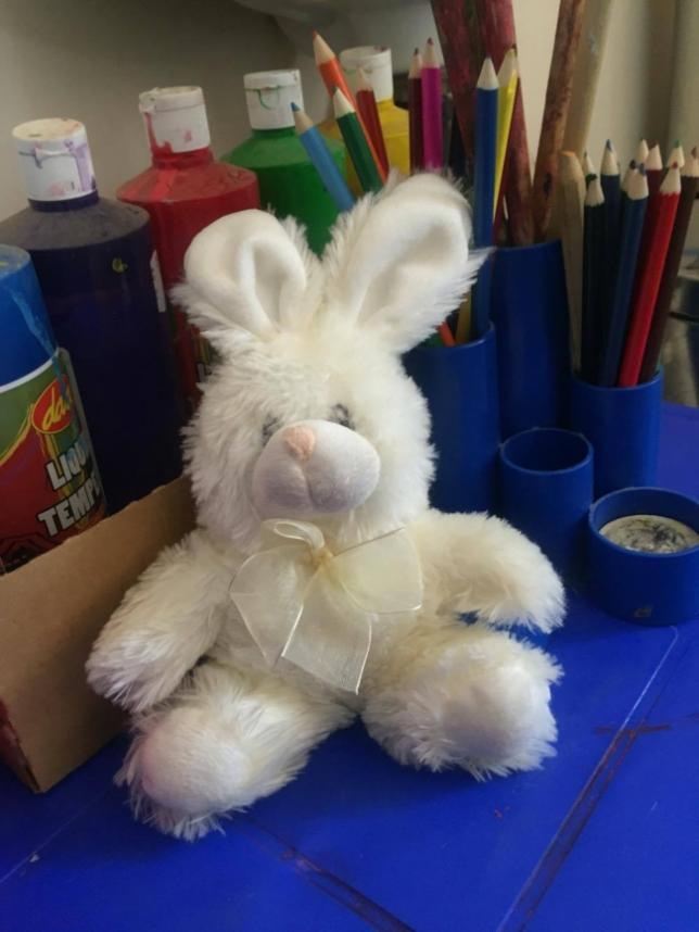 A toy bunny, probably our most beloved staff member!