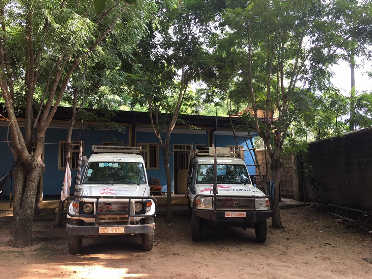 MSF Land Cruisers parked by the base in Gambela