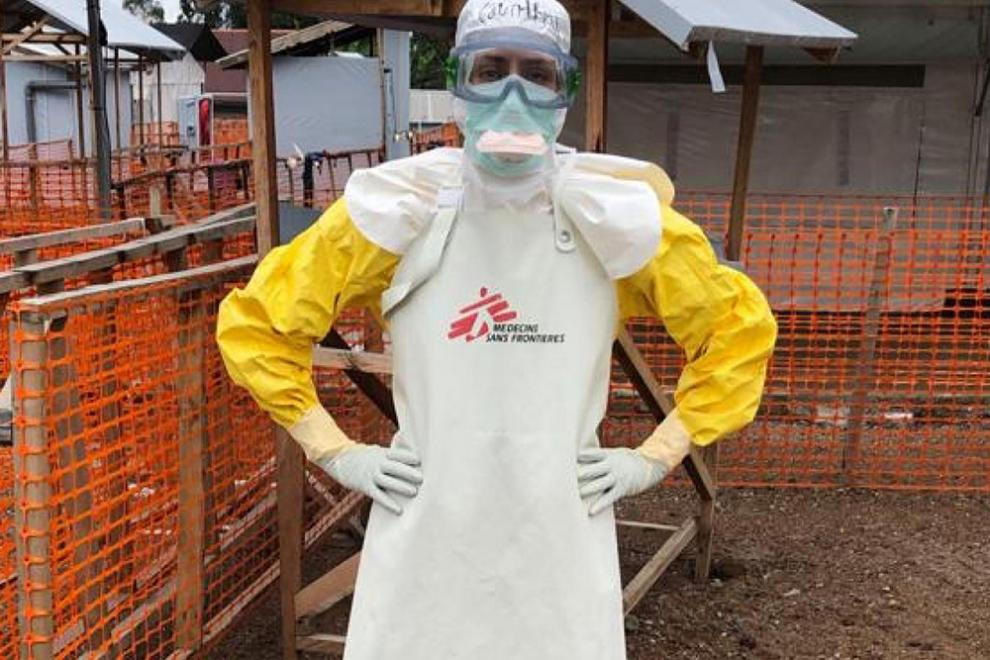 MSF nurse Courtney Bercan in full protective personal equipment.