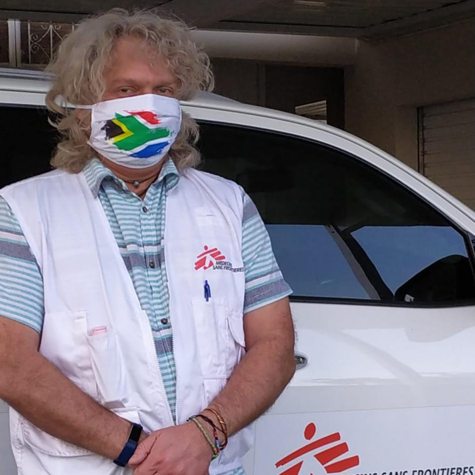 Eben van Tonder wearing a mask at an MSF project in South Africa