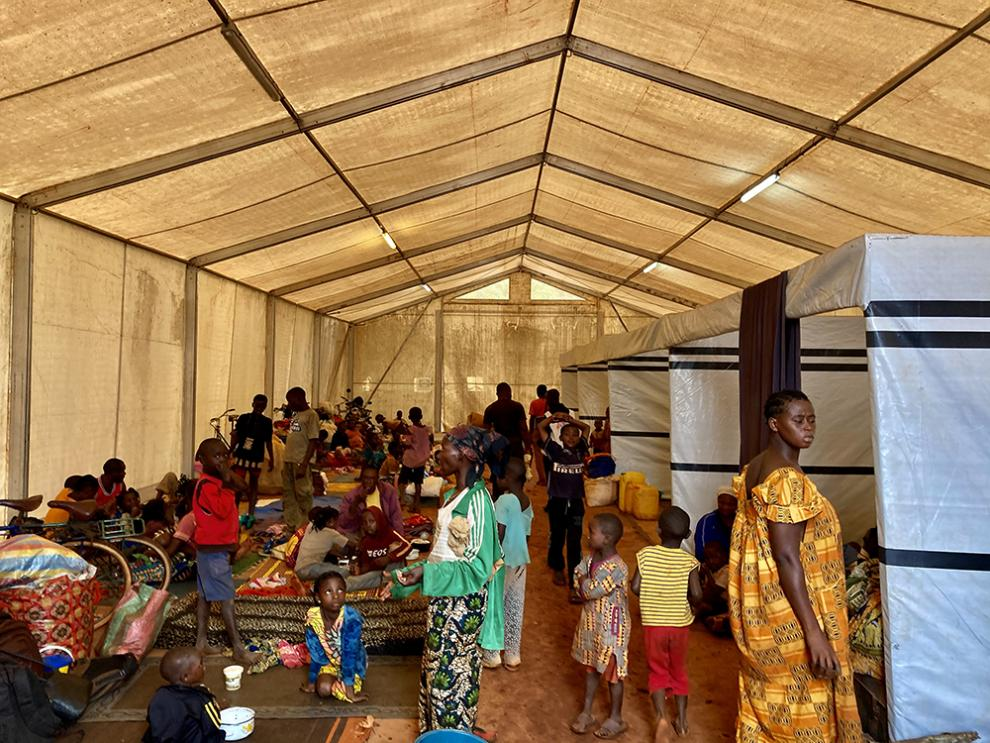 People taking shelter inside the hospital's tents
