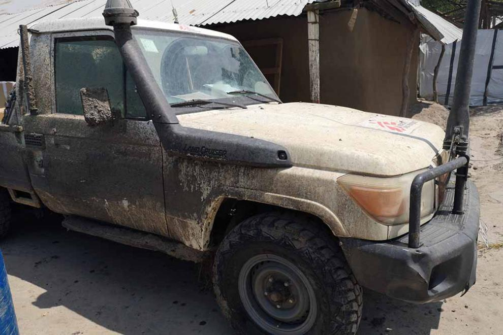 A mud-splattered MSF Land Cruiser in South Sudan