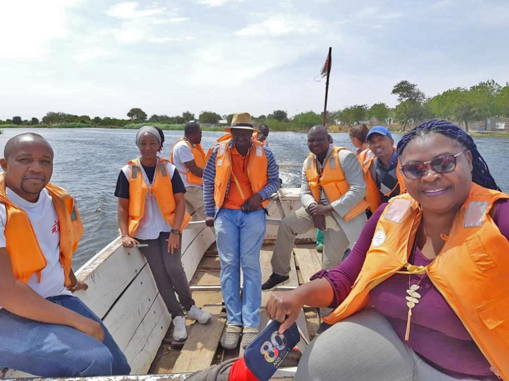 The MSF team travel by boat in Old Fangak, South Sudan